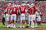 Wisconsin Badgers quarterback Alex Hornibrook (12) calls a play in the huddle during an NCAA College Big Ten Conference football game against the Michigan Wolverines Saturday, November 18, 2017, in Madison, Wis. The Badgers won 24-10. (Photo by David Stluka)