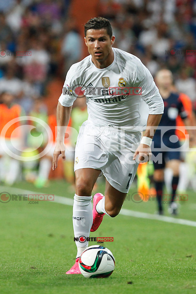 Real Madrid´s Cristiano Ronaldo during Santiago Bernabeu Trophy match at Santiago Bernabeu stadium in Madrid, Spain. August 18, 2015. (ALTERPHOTOS/Victor Blanco)