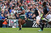 Leicester Tigers' Manu Tuilagi breaks away to score his sides fourth try <br /> <br /> Photographer Stephen White/CameraSport<br /> <br /> Gallagher Premiership Round 2 - Leicester Tigers v Newcastle Falcons - Saturday September 8th 2018 - Welford Road - Leicester<br /> <br /> World Copyright &copy; 2018 CameraSport. All rights reserved. 43 Linden Ave. Countesthorpe. Leicester. England. LE8 5PG - Tel: +44 (0) 116 277 4147 - admin@camerasport.com - www.camerasport.com