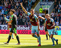 Burnley's Chris Wood celebrates scoring his side's first goal with teammate Matthew Lowton<br /> <br /> Photographer Alex Dodd/CameraSport<br /> <br /> The Premier League - Burnley v Bournemouth - Sunday 13th May 2018 - Turf Moor - Burnley<br /> <br /> World Copyright &copy; 2018 CameraSport. All rights reserved. 43 Linden Ave. Countesthorpe. Leicester. England. LE8 5PG - Tel: +44 (0) 116 277 4147 - admin@camerasport.com - www.camerasport.com