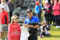 Scott Hend (AUS) and wife Leanne on the 18th green on the 1st playoff hole during Sunday's Final Round of the 2017 Omega European Masters held at Golf Club Crans-Sur-Sierre, Crans Montana, Switzerland. 10th September 2017.<br /> Picture: Eoin Clarke | Golffile<br /> <br /> <br /> All photos usage must carry mandatory copyright credit (&copy; Golffile | Eoin Clarke)