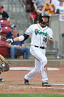 Cedar Rapids Kernels center fielder Christian Cavaness (18) swings during a game against the Beloit Snappers at Veterans Memorial Stadium on April 9, 2017 in Cedar Rapids, Iowa.  The Kernels won 6-1.  (Dennis Hubbard/Four Seam Images)