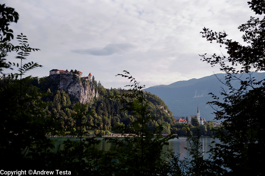SLOVENIA. Bled . 26th July 2011.<br /> The Castle at Lake Bled.<br /> &copy;Andrew Testa for the New York Times