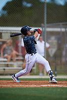 Judson Fabian during the WWBA World Championship at the Roger Dean Complex on October 18, 2018 in Jupiter, Florida.  Judson Fabian is an outfielder from Ocala, Florida who attends Trinity Catholic High School and is committed to Florida.  (Mike Janes/Four Seam Images)
