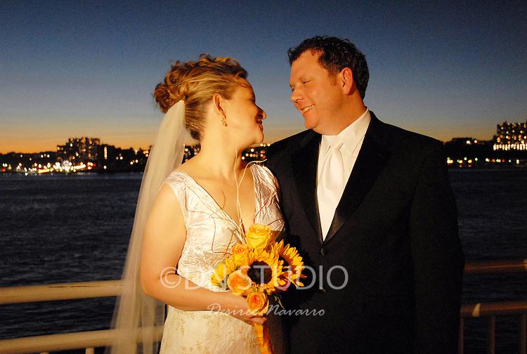 The wedding of Marcela Fernadez and Kenneth Benson held at Sunset Terrace, Chelsea Piers in Chelsea, New York on Sunday, September 23, 2007.