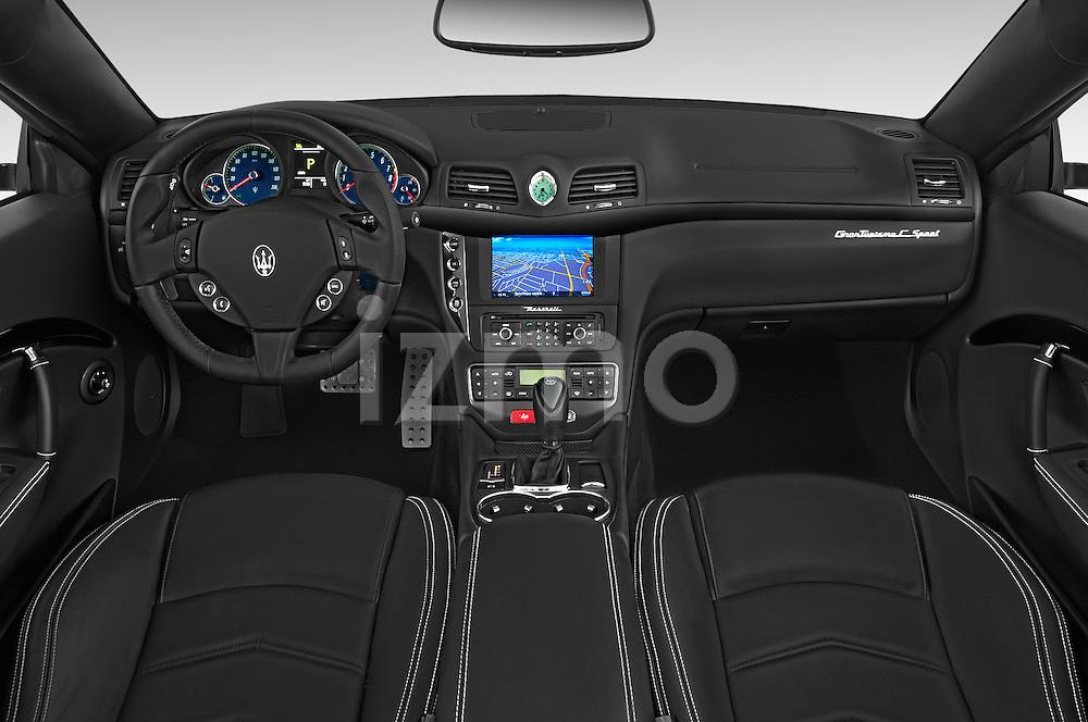 Stock photo of straight dashboard view of a 2014 Maserati GranTurismo Convertible Sport Door convertible Dashboard