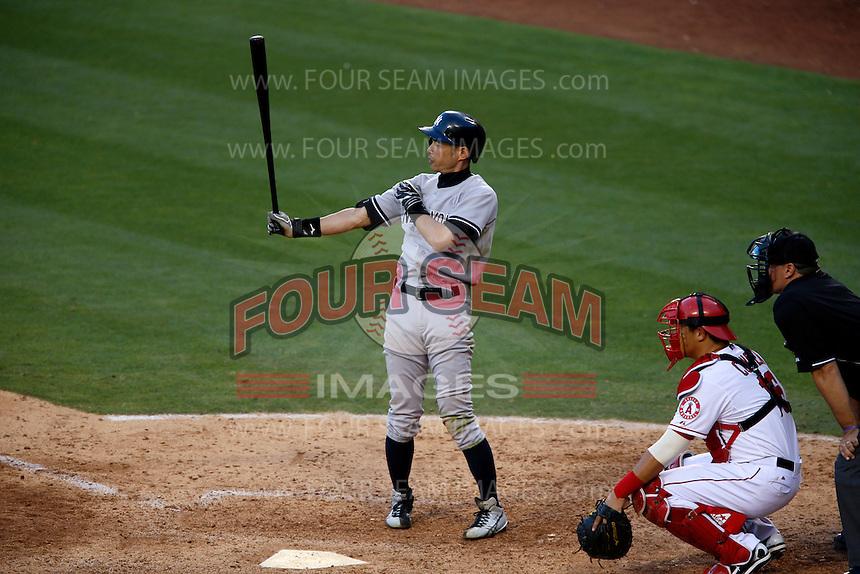 Ichiro Suzuki #31 of the New York Yankees bats against the Los Angeles Angels at Angel Stadium on June 15, 2013 in Anaheim, California. (Larry Goren/Four Seam Images)