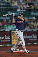 OAKLAND, CA - SEPTEMBER 22:  Joe Mauer #7 of the Minnesota Twins swings in the on deck circle during the game against the Oakland Athletics at the Oakland Coliseum on Saturday, September 22, 2018 in Oakland, California. (Photo by Brad Mangin)