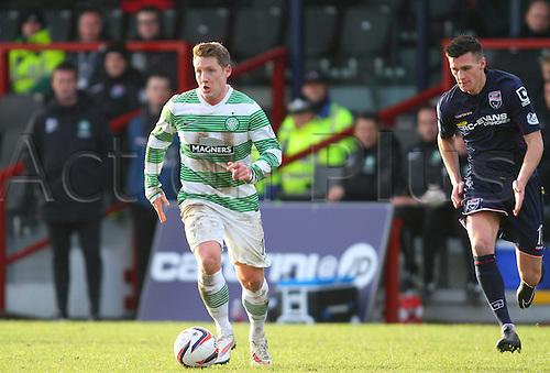 24.01.2015.  Dingwall, Scotland. Scottish Premier League. Ross County versus Celtic. Kris Commons and Jamie Reckord