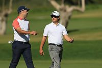 Oliver Farr (WAL) and Darius Van Driel (NED) on the 5th fairway during Round 1 of the Challenge Tour Grand Final 2019 at Club de Golf Alcanada, Port d'Alcúdia, Mallorca, Spain on Thursday 7th November 2019.<br /> Picture:  Thos Caffrey / Golffile<br /> <br /> All photo usage must carry mandatory copyright credit (© Golffile | Thos Caffrey)