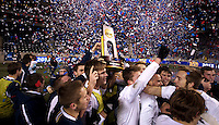Notre Dame celebrates with the trophy after the NCAA Men's College Cup final at PPL Park in Chester, PA.  Notre Dame defeated Maryland, 2-1.