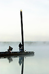 Fishermen in the fog, Sauvie Island, Oregon