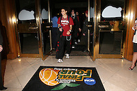 3 April 2008: Cissy Pierce and the team arrive at the Westin Harbour Island Hotel during Stanford's travel day to the 2008 NCAA Division I Women's Basketball Final Four in Tampa Bay, FL.