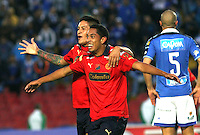 BOGOTA -COLOMBIA, 11-OCTUBRE-2014. <br /> Javier Calle de Medellin  celebra un gol anotado a Millonarios  durante partido por la fecha 14 de la Liga Postobón II 2014 jugado en el estadio Nemesio Camacho El Campin . Javier Calle  player of Medellin  celebrates his goal  against Millonarios  during the match for the 14th date of the Postobon League II 2014 played at Nemesio Camacho El Campin.Photo / VizzorImage / Felipe Caicedo / Staff