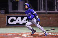 ELON, NC - FEBRUARY 28: Diego Gines #11 of Indiana State University hits the ball during a game between Indiana State and Elon at Walter C. Latham Park on February 28, 2020 in Elon, North Carolina.