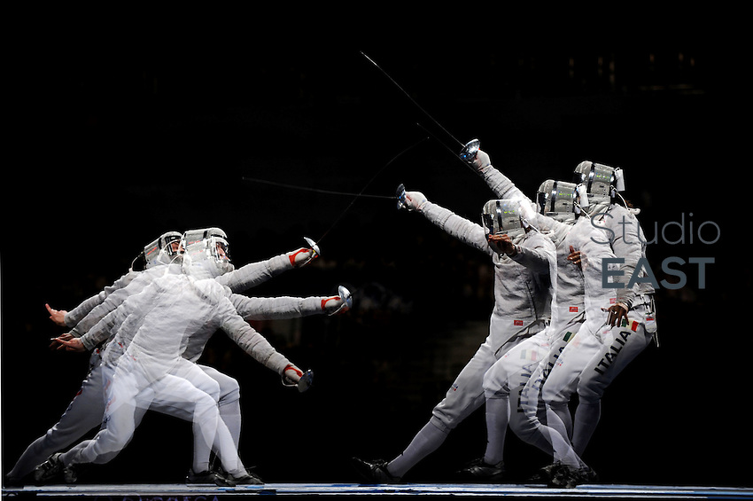 Aldo Montano (R) of Italy and Alexey Yakimenko of Russia compete in team sabre fencing bronze medal match at the Fencing Hall of National Convention Center on Day 9 of the Beijing 2008 Olympic Games on August 17, 2008 in Beijing, China. Photo by Lucas Schifres/Pictobank/Cameleon/ABACAPRESS.COM