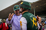 ARCADIA, CA - MARCH 10: Mick Ruis embraces Javier Castellano after winning the San Felipe Stakes at Santa Anita Park on March 10, 2018 in Arcadia, California. (Photo by Alex Evers/Eclipse Sportswire/Getty Images)