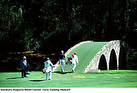 4th April 1999. Amen Corner Augusta National Golf Course; Bernhard Langer takes the bridge at Amen Corner Augusta National Golf course