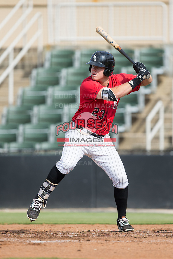 Gavin Sheets (23) of the Kannapolis Intimidators at bat against the Greensboro Grasshoppers at Kannapolis Intimidators Stadium on August 13, 2017 in Kannapolis, North Carolina.  The Grasshoppers defeated the Intimidators 4-1 in 10 innings in the completion of a game suspended on August 12, 2017.  (Brian Westerholt/Four Seam Images)