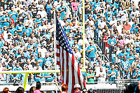 October 02, 2011:  Fans sing the National Anthem prior to the start of  action between the Jacksonville Jaguars and the New Orleans Saints at EverBank Field in Jacksonville, Florida.  New Orleans defeated Jacksonville 23-10.........