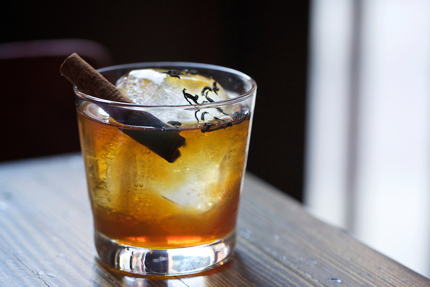 New York, NY - March 26, 2016: The Diver Down (cocktail): Lapsang rye whiskey, sweet vermouth, ciociaro, bruleed cinnamon stick at Speedy Romeo's new location, opening in the Lower East Side.<br /> <br /> CREDIT: Clay Williams for Gothamist.<br /> <br /> &copy; Clay Williams / claywilliamsphoto.com