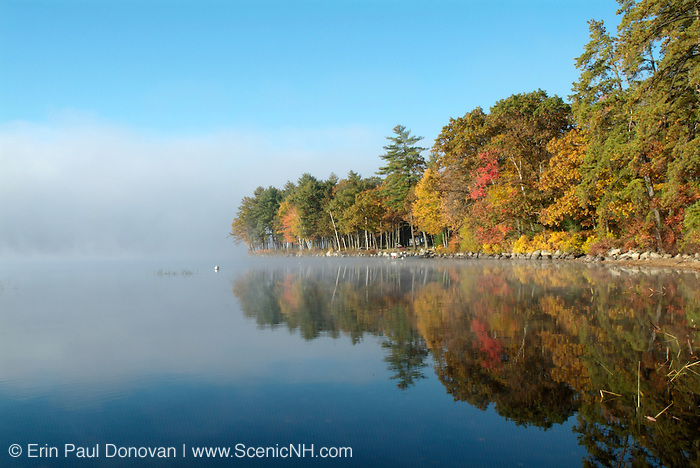 The beautiful Autumn / Fall Colors around Lake Massabesic in Auburn, New Hampshire, USA, Which is located in New England.