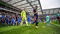 players come out during the Premier League match between Brighton and Hove Albion and Everton at the American Express Community Stadium, Brighton and Hove, England on 15 October 2017. Photo by Edward Thomas / PRiME Media Images.