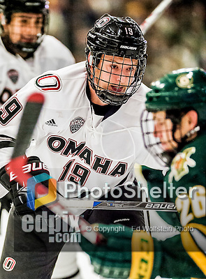 17 October 2015: University of Nebraska Omaha Maverick Forward Tanner Lane, a Senior from Detroit Lakes, MN, in first period action against the University of Vermont Catamounts at Gutterson Fieldhouse in Burlington, Vermont. The Mavericks defeated the Catamounts 3-1 in the second game of their weekend series. Mandatory Credit: Ed Wolfstein Photo *** RAW (NEF) Image File Available ***