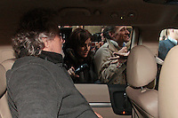 Beppe Grillo in macchina .Roma 04/03/2013 Hotel Universo. Beppe Grillo esce dall'hotel dopo il vertice del Movimento 5 Stelle e viene presso d'assalto dai media..Beppe Grillo gets out the Universo Hotel after the summit with the new elected fo 'Movimento 5 Stelle' at the last Elections 2013 and he is assaulted by the media..Photo Samantha Zucchi Insidefoto