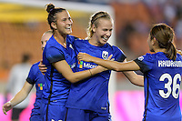 Houston, TX - Sunday Sept. 25, 2016: Carson Pickett, Beverly Yanez celebrates scoring, Nahomi Kawasumi  during a regular season National Women's Soccer League (NWSL) match between the Houston Dash and the Seattle Reign FC at BBVA Compass Stadium.