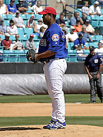 April 1, 2004:  Pitcher Livan Hernandez of the Montreal Expos (Washington Nationals) organization during Spring Training at Space Coast Stadium in Melbourne, FL.  Photo copyright Mike Janes/Four Seam Images