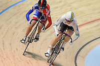 VICTORIA PENDLETON (GBR) and ANNA MEARES (AUS) compete in the semifinals of the Women's Sprint event on day 3 of the 2012 UCI Track Cycling World Championships at Hisense Arena in Melbourne, Australia. Photo Sydney Low. Copyright 2012 Sydney Low. All rights reserved. No reproduction permitted. Access via FlickrAPI not permitted...Please contact ZUMApress.com for editorial licensing:.Phone +1.949.481.3747  -  fax +1.949.481.3941  -  zuma-info@ZUMAPress.com .408 N. El Camino Real, San Clemente, California, 92672 USA