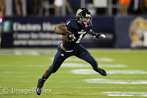 13 October 2012:  FIU wide receiver Willis Wright (1) takes a reception 49 yards in the third quarter as the Middle Tennessee State University Blue Raiders defeated the FIU Golden Panthers, 34-30, at FIU Stadium in Miami, Florida.
