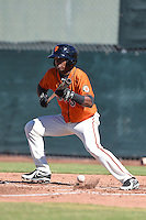 San Francisco Giants second baseman Rando Moreno (15) during an Instructional League game against the Oakland Athletics on October 13, 2014 at Giants Baseball Complex in Scottsdale, Arizona.  (Mike Janes/Four Seam Images)