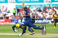 Varun Chopra of Essex hits four runs as Chris Cooke takes a tumble during Essex Eagles vs Glamorgan, NatWest T20 Blast Cricket at The Cloudfm County Ground on 16th July 2017