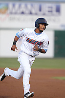 Jose Rondon #11 of the Inland Empire 66ers runs the bases during a game against the Lancaster JetHawks at San Manuel Stadium on April 23, 2014 in San Bernardino, California. Inland Empire defeated Lancaster, 4-3. (Larry Goren/Four Seam Images)