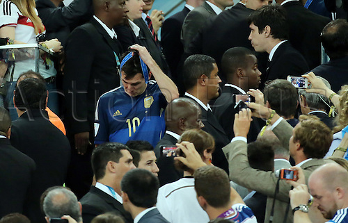 13.07.2014. Rio de Janeiro, Brazil. World Cup Final. Germany versus Argentina. Messi takes off his medal after awards ceremony