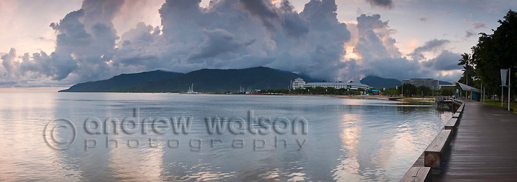 View along the Esplanade boardwalk at dawn.  Cairns, Queensland, Australia