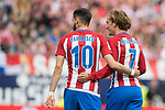 Yannick Ferreira Carrasco (L)  of Atletico de Madrid  and Antoine Griezmann (R) of Atletico de Madrid react during their La Liga match between Atletico de Madrid vs Athletic de Bilbao at the Estadio Vicente Calderon on 21 May 2017 in Madrid, Spain. Photo by Diego Gonzalez Souto / Power Sport Images