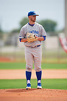 Central Connecticut State Blue Devils starting pitcher Andrew Hinckley (23) gets ready to deliver a pitch during a game against the North Dakota State Bison on February 23, 2018 at North Charlotte Regional Park in Port Charlotte, Florida.  North Dakota State defeated Connecticut State 2-0.  (Mike Janes/Four Seam Images)