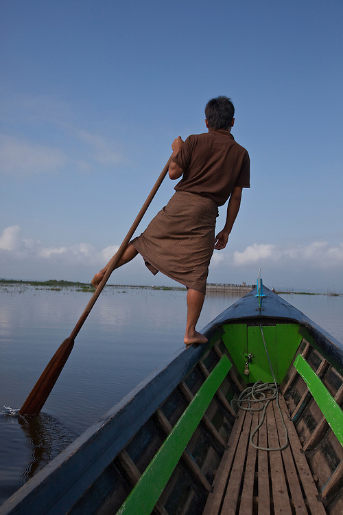 One legged rowing is unique to Inle Lake requiring balance & coordination