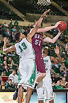 Arkansas Little Rock Trojans forward Will Neighbour (53) and North Texas Mean Green forward Tony Mitchell (13) in action during the game between the Arkansas Little Rock Trojans and the North Texas Mean Green at the Super Pit arena in Denton, Texas. UALR defeats UNT 62 to 57...