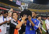 DC United midfielder Marcelo Gallardo (10) left and goalkeeper James Thorpe (40) right holds the US. Open Cup Trophy, DC United defeated The Charleston Battery  to win the US. Open Cup, Wednesday September 3, 2008 at RFK Stadium.