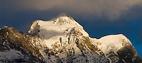 Dramatic light over summit of Jungfrau, Bernese Alps, Switzerland