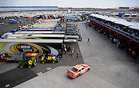 Feb. 27, 2009; Las Vegas, NV, USA; NASCAR Sprint Cup Series driver Joey Logano drives into the garage during practice for the Shelby 427 at Las Vegas Motor Speedway. Mandatory Credit: Mark J. Rebilas-