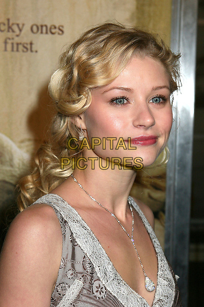 "EMILIE DE RAVIN.Los Angeles Premiere of ""The Hills Have Eyes"", Hollywood, California , USA.March 9th, 2006.Photo: Byron Purvis/AdMedia/Capital Pictures.Ref: BP/ADM.headshot portrait silver diamond necklace.www.capitalpictures.com.sales@capitalpictures.com.© Capital Pictures."