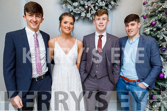 Junior All Ireland winning footballers Jack Brosnan (Glenbeigh/Glencar) with Bevan Woods, Callum Teahan (Glenbeigh/Glencar) and Mike Breen (Beaufort) attending the Kerry GAA Medal Presentation in the Rose Hotel on Saturday night