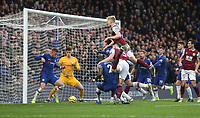 Burnley's Ben Mee goes close with a first half header<br /> <br /> Photographer Rob Newell/CameraSport<br /> <br /> The Premier League - Chelsea v Burnley - Saturday 11th January 2020 - Stamford Bridge - London<br /> <br /> World Copyright © 2020 CameraSport. All rights reserved. 43 Linden Ave. Countesthorpe. Leicester. England. LE8 5PG - Tel: +44 (0) 116 277 4147 - admin@camerasport.com - www.camerasport.com