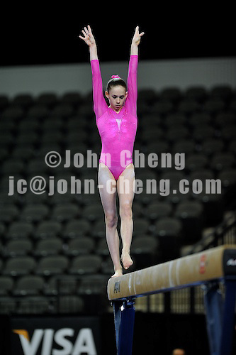 02/20/09 - Photo by John Cheng for USA Gymnastics.  US gymnast Bridgette Caquatto performs on balance beam in a meet against Japan before the Tyson American Cup at Sears Centre Arena in Chicago.