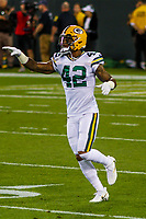 Green Bay Packers safety Morgan Burnett (42) during a National Football League game against the Chicago Bears on September 28, 2017 at Lambeau Field in Green Bay, Wisconsin. Green Bay defeated Chicago 35-14. (Brad Krause/Krause Sports Photography)